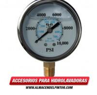 Manómetro para hidrolavadora con acople de bronce hasta 10000 PSI