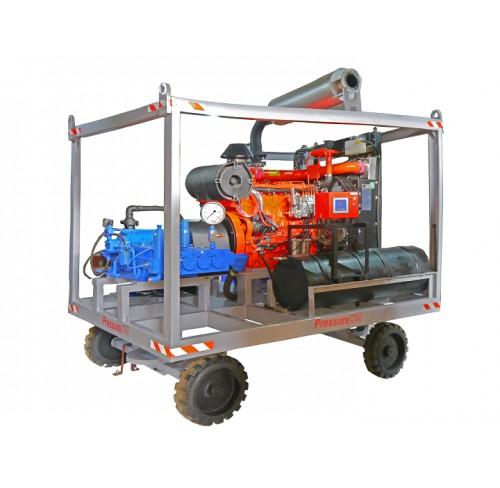 Bomba de alta presión 43 lpm 14500 psi Diesel con sistema de ruedas